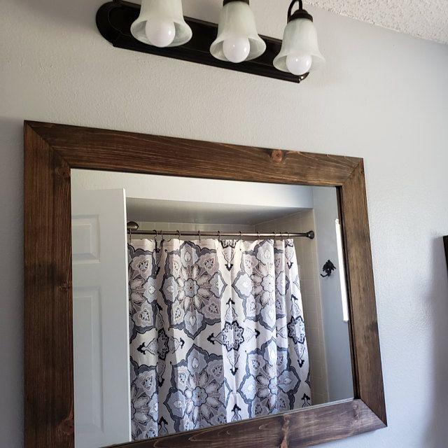 Farmhouse Mirror Wall Decor Rustic Wood Frame Mirror Wall Etsy Reclaimed Wood Mirror Wood Mirror Farmhouse Mirrors