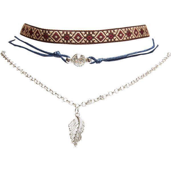 Boho Bling Choker Trio (15 AUD) ❤ liked on Polyvore featuring jewelry, necklaces, accessories, jewels, silver, layered chain necklace, tribal necklace, ribbon necklace, rhinestone necklace and boho necklace