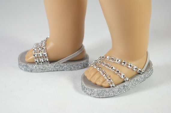 "American Girl or 18 inch doll Ballerina princess party SANDALS SHOES Flipflops dressy Triple ""Fan"" Straps in SILVER sparkle"