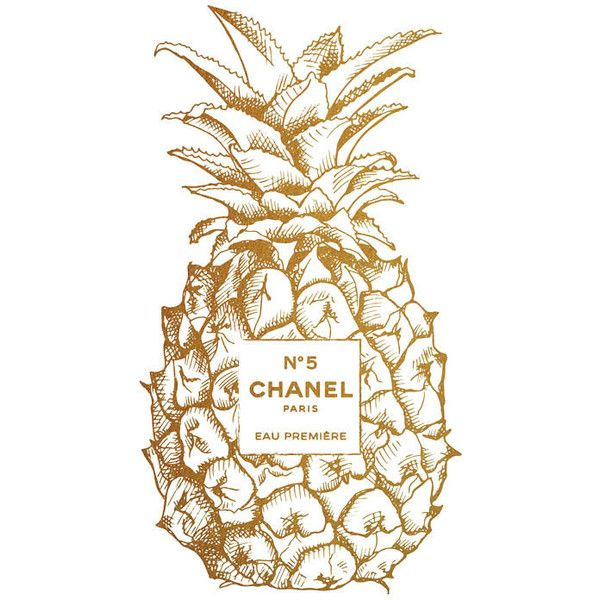 Gold Pineapple Chanel No5 Print, Golden Pineapple, gold chanel, coco... ($5) ❤ liked on Polyvore featuring home, home decor, wall art, other, pineapple, backgrounds, filler, tropical wall art, gold wall art and pineapple home decor