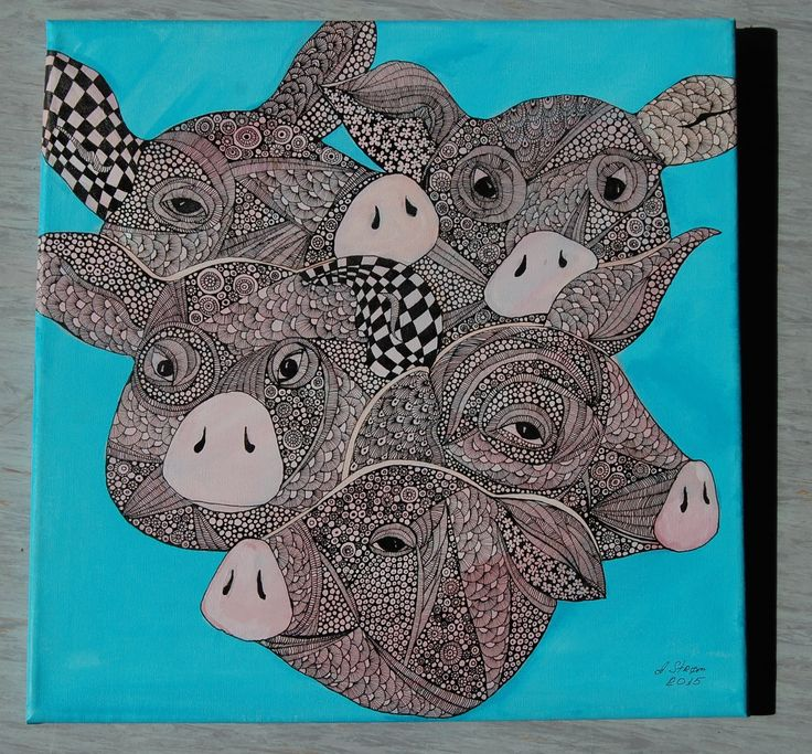 ,,Pigs,, canvas , acrylic, ink  graphic art by Anna Strøm http://www.design-of-norway.no/ www.snillpike.no