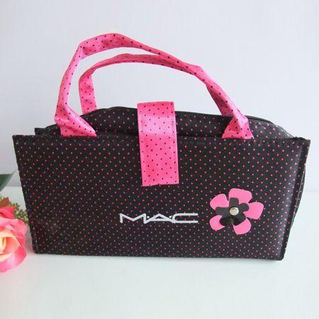 MAC Black Makeup Bag With Flower Pink Spot