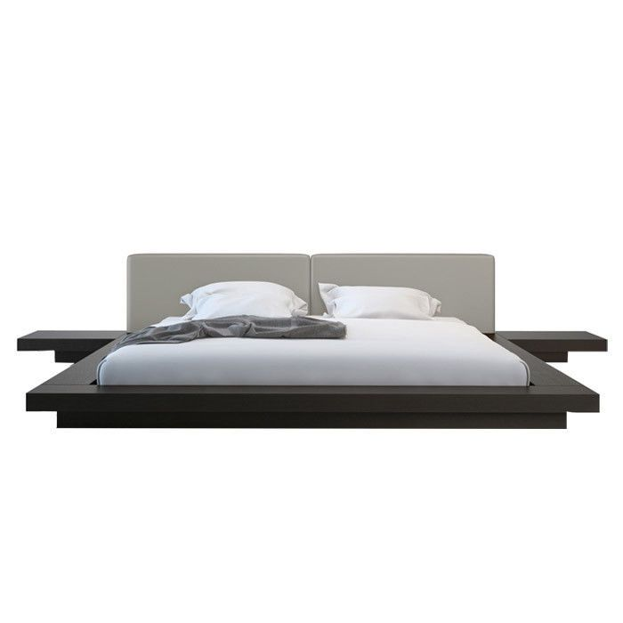 modern floating platform bed frame w leather headboard u0026 nightstands bedroom