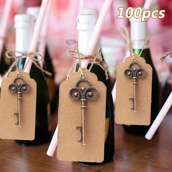 DIY Paperboard Wedding Gift Favor Box Bottle Opener Key Chains Wedding Souvenirs