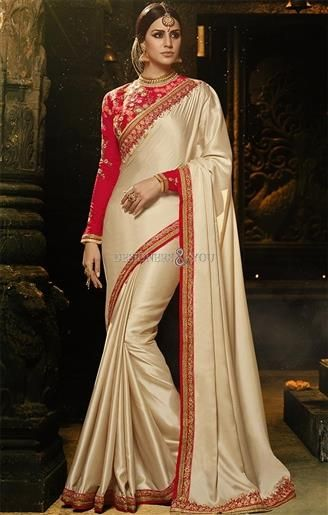 Trendy Cream Zari Worked Art Silk Party Saree Set For Engagement