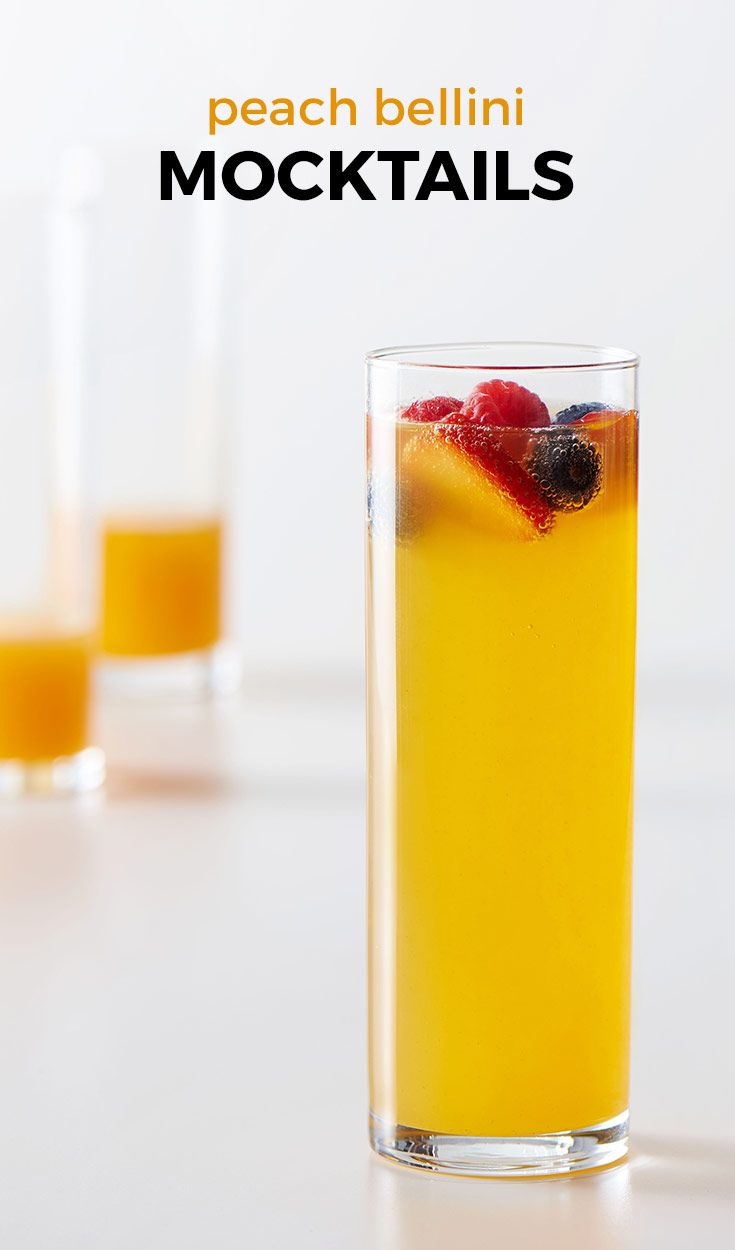 Peach Bellini Mocktails. Hosting a brunch? Try these quick and simple booze-free bellinis. Chill the ingredients ahead of time so the sweet flavors won't be diluted by ice. Prefer a less sweet version? Swap out the ginger ale for orange or peach flavored seltzer water, instead.