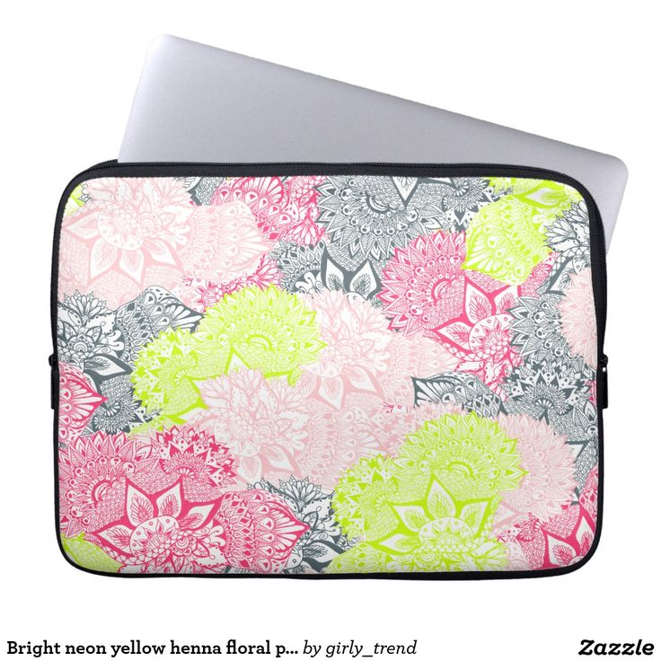 Bright neon yellow henna floral paisley pattern laptop computer sleeves