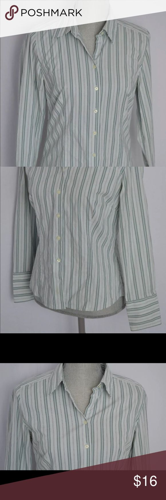 """Ann Taylor striped mint green shirt in size 8 An excellent used condition button down striped mint green shirt by Ann Taylor in size 8.  Dimensions:-  Length:- 24.25"""" Bust:- 18.25""""  Thanks for viewing! Ann Taylor Tops Button Down Shirts"""