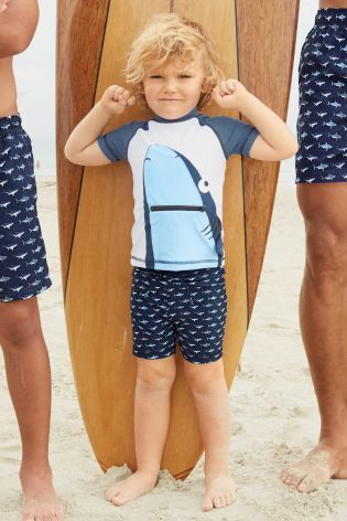 Navy Shark Swim Shorts And Vest Two Piece Set (3mths-6yrs)