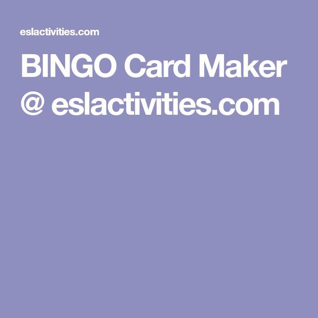 BINGO Card Maker @ eslactivities.com