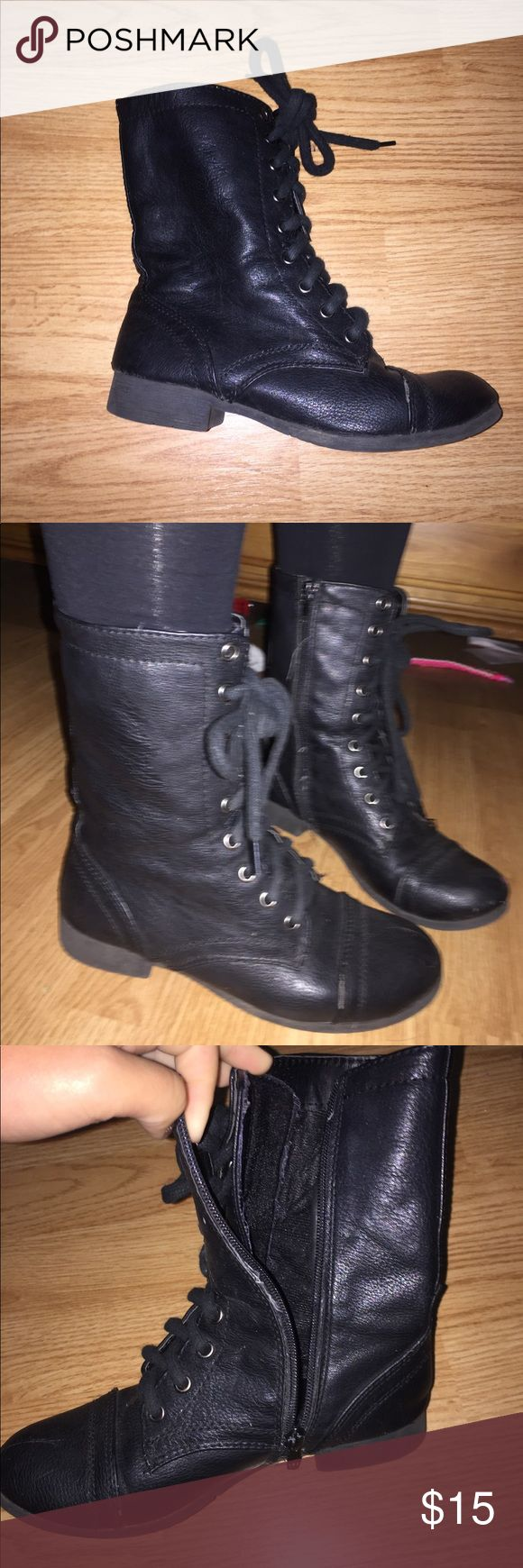 Black Lace Up Combat Boots pretty good condition great to pair with boot socks for the fall/winter. zips on side and laces on front. Shoes Combat & Moto Boots