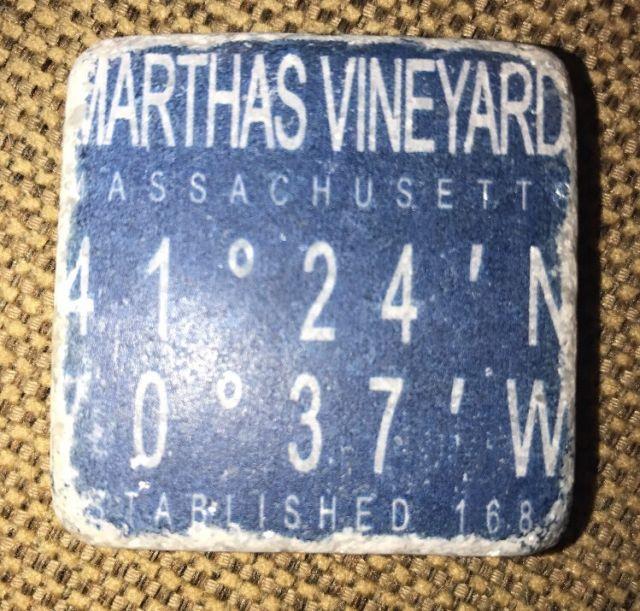 Martha's Vineyard Massachusetts USA Tumbled Marble Coordinates Fridge Magnet | eBay