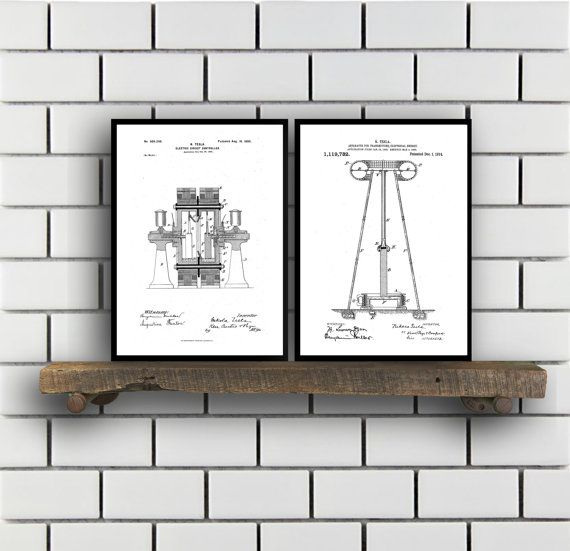 Tesla Patent Set of TWO, Tesla Electrical Transmitter Patent, Tesla Poster, Tesla Transmitter Print, Tesla Patent, Tesla Inventions, SP124 by STANLEYprintHOUSE  6.00 USD  These posters are printed using high quality archival inks, and will be of museum quality. Any of these posters will make a great affordable gift, or tie any room together.  Please choose between different sizes and colors.  These posters are shipped in mailing tubes via USPS First C ..  https://www.etsy.com/ca/li..