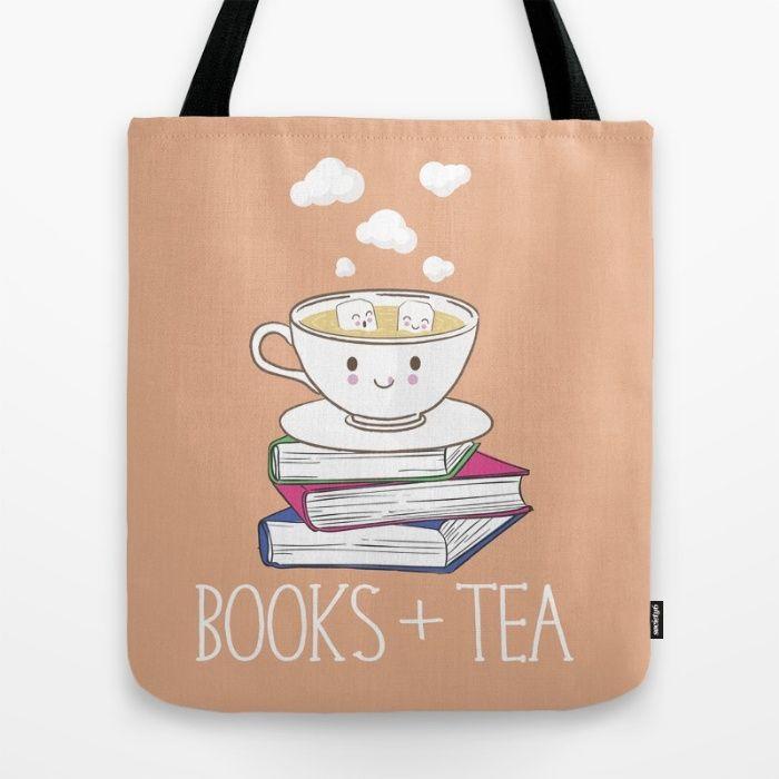 Books + Tea Tote Bag by Evie Seo