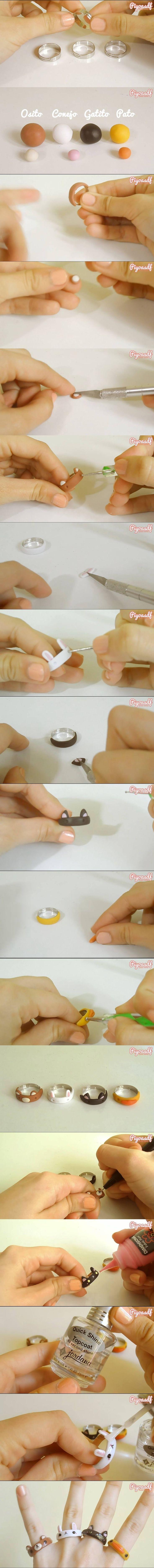 Tiernos anillos de animalitos para niñas /