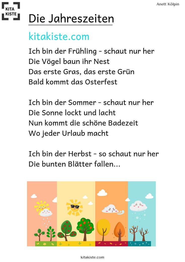 """""""die jahreszeiten"""" kindergarten gedicht  fingerspiele"""