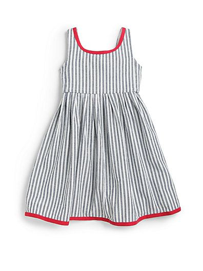 Ralph Lauren toddler - sleeveless cotton dress features vintage-inspired indigo stripes and contrasting accents.