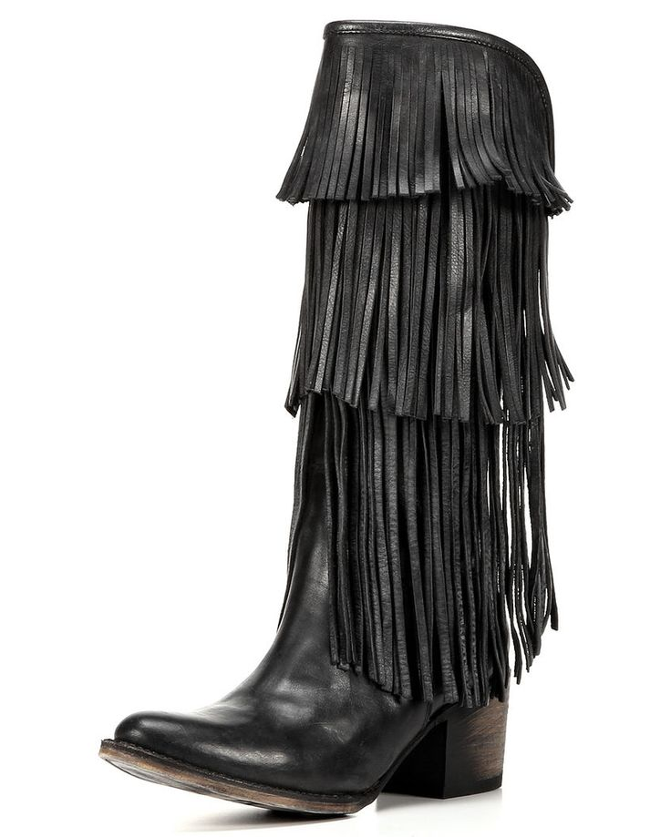 Women's Ranger Fringe Boot, Black