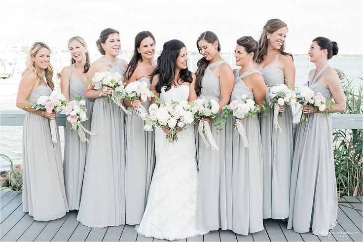 Light Grey Convertible Long Bridesmaid Dresses by Jenny Yoo Collection