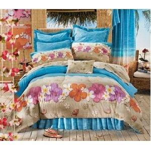 Hawaiian Hibiscus Queen Comforter Set 4 Piece Bedding