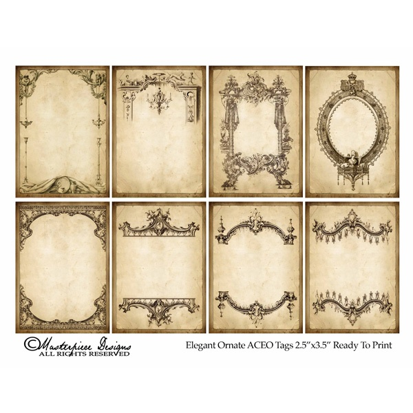 Ephemera ~ Elegant Ornate Tags 8 tags