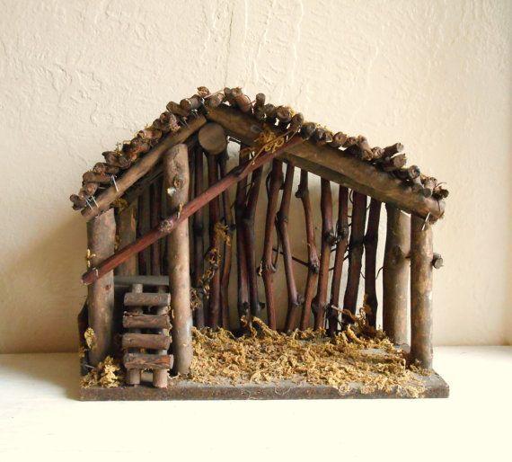 La madera y musgo del Pesebre de Belén de Navidad - ShabbyNChic: