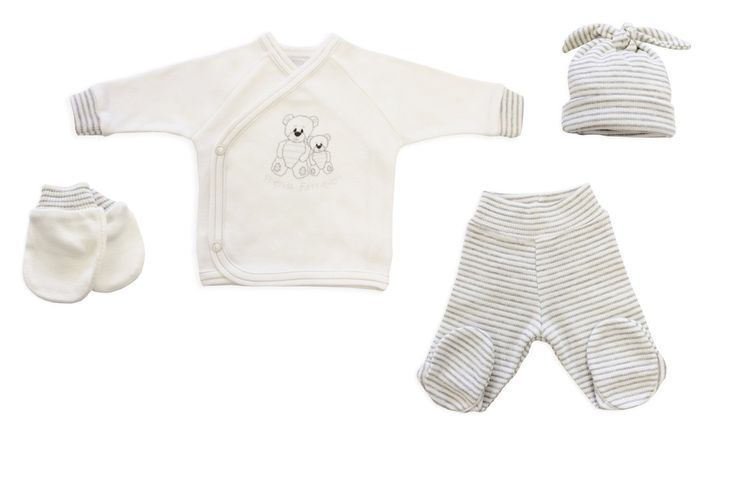 Friends Fur-Ever Set with matching mittens, knot top hat, footed pants and kimono open top.