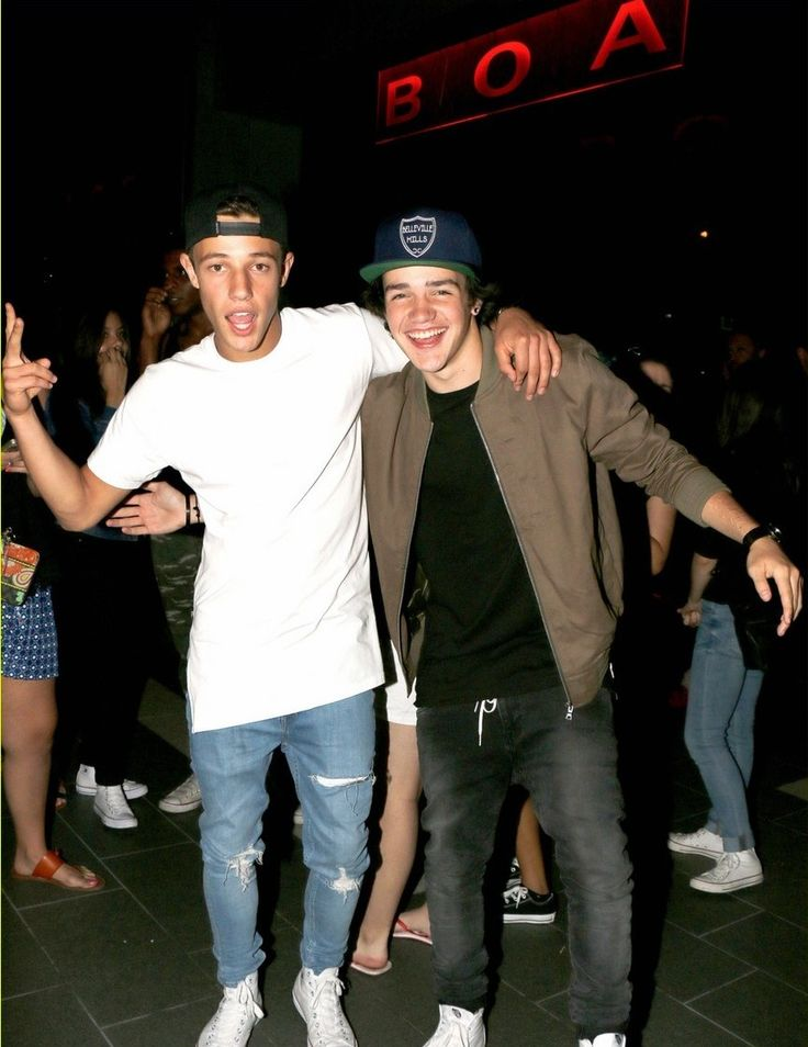 141242, Cameron Dallas and Aaron Carpenter seen at BOA Steakhouse, West Hollywood. West Hollywood, California - Saturday August 15, 2015. Photograph: © MHD, PacificCoastNews. Los Angeles Office: +1 310.822.0419 sales@pacificcoastnews.com FEE MUST BE AGREED PRIOR TO USAGE