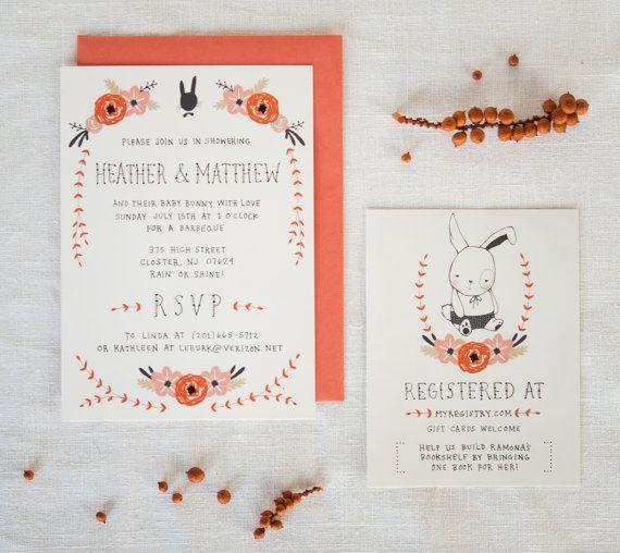 Baby Shower Invitation and Registry Card  Bunny di KelliMurrayArt, $65.00