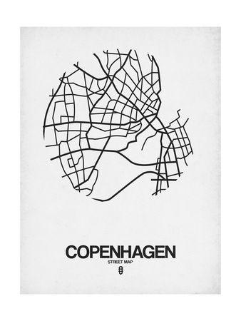 Copenhagen Street Map White Poster af NaxArt på AllPosters.dk