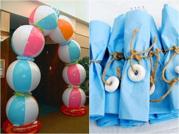 10 Ideas for a Summer & Beach Wedding, Bar & Bat Mitzvah & Party Theme - Beach Ball Balloons & Balloon Arch - mazelmoments.com