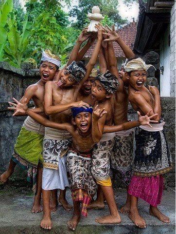 Balinese boys having fun ❀ Bali Floating Leaf Eco-Retreat ❀ http://balifloatingleaf.com ❀