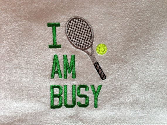 I AM BUSY Personalized Tennis Racquet Sports Towel by sweetharsh