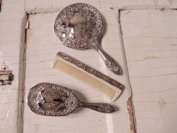 Vintage Silver-plated Vanity Mirror Brush by CreativeWorkStudios
