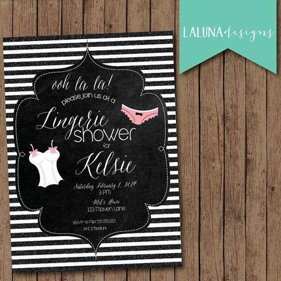 Lingerie Shower Invitation, Lingerie Shower Invite, Lingerie Bridal Shower, Glitter Stripes DIY Printable