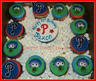 Love these Phillies cupcakes from Sweets By Jen.