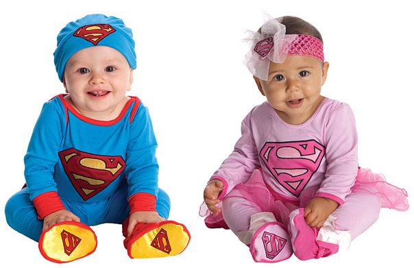 Superman baby costume and Supergirl baby costume plus 14 other super cute costumes: http://www.retailmenot.com/blog/baby-halloween-costume-ideas.html #halloween #baby #costumes