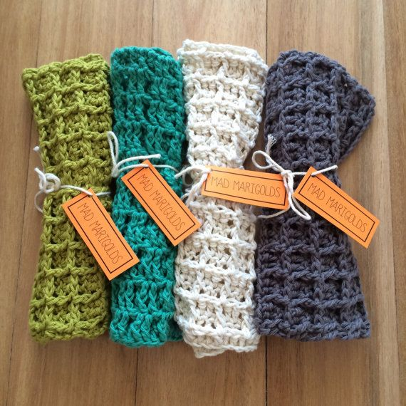 Crochet Cotton Wash Cloths by MadMarigolds on Etsy