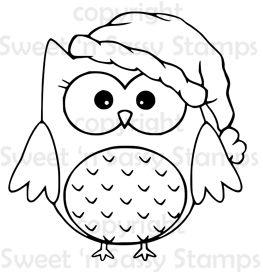 Santa Owl Digital Stamp Owl Coloring Pages Owls Drawing Digital Stamps