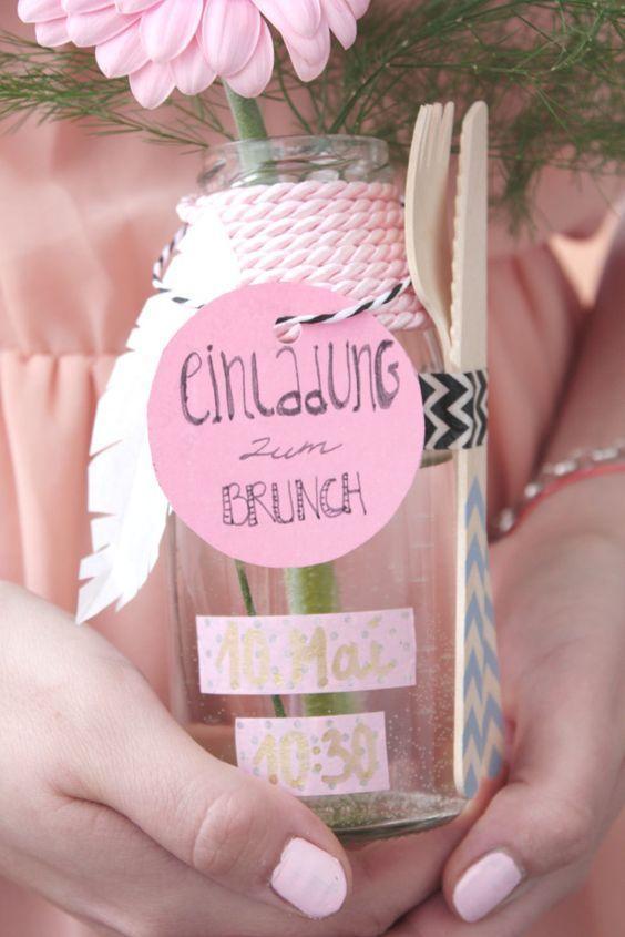 Cute gift idea. Invitation for brunch in a jar #geschenkidee #einladung #brunch                                                                                                                                                                                 Mehr