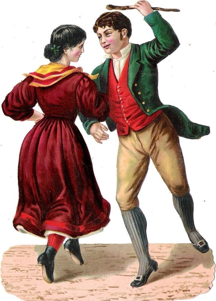 Oblaten Glanzbild scrap die cut chromo Paar 14,5 cm dancing couple femme lady