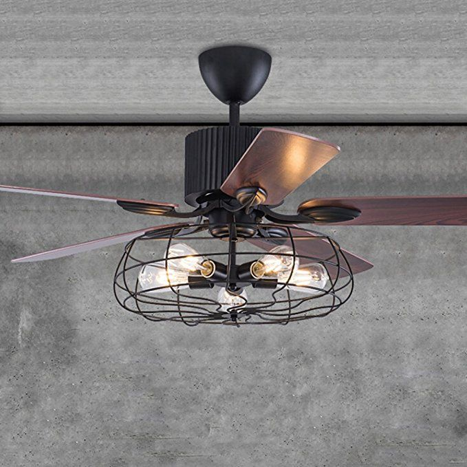 Industrial 48 Wrought Iron Style Fan Semi Flush Ceiling Light