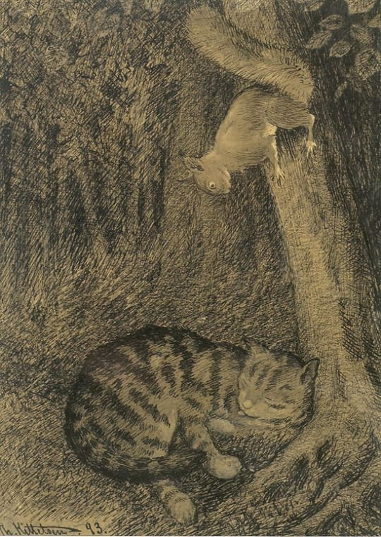Cat and Squirrel by Theodor Kittelsen, ca. 1893