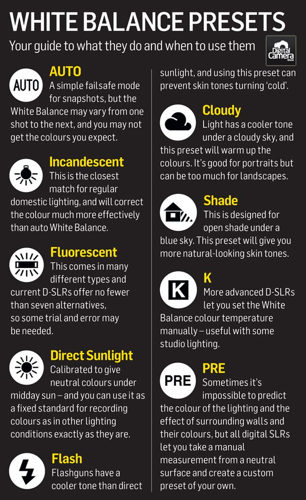 White balance explained: how #cameras correct the color of different types of light. #photography