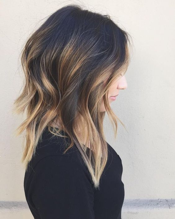 Medium-Length A-line Long Bob with Butterscotch Balayage