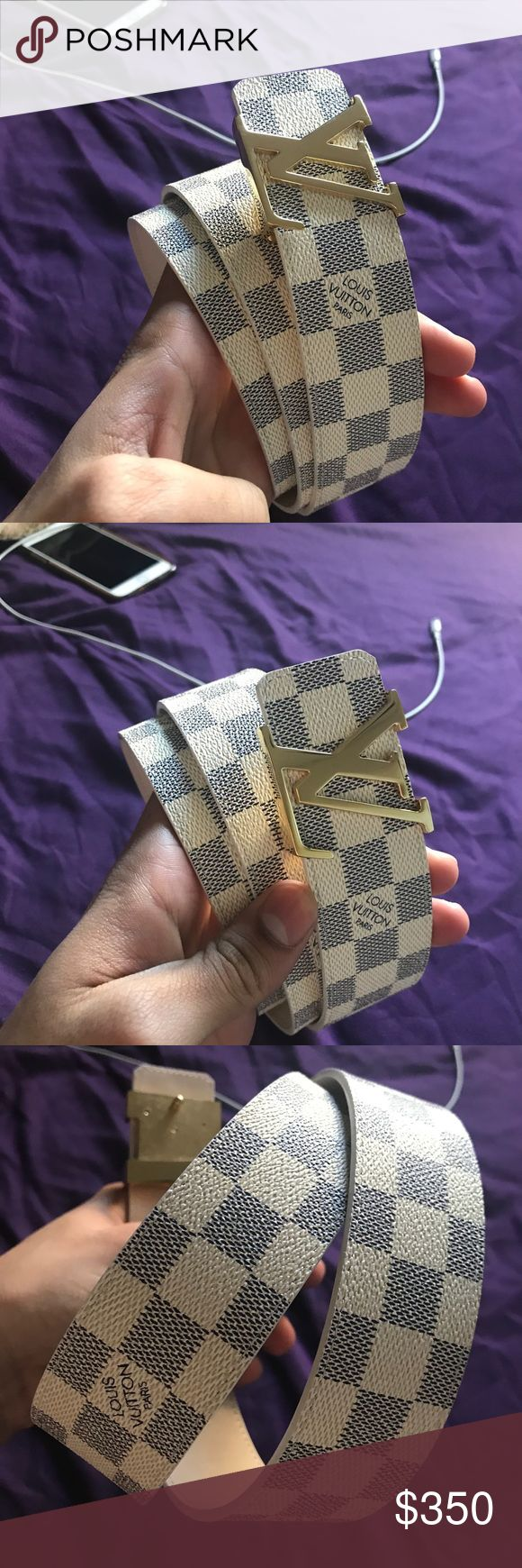 White and Gold Buckle Azure LV Louis Vuitton Belt BRAND NEW LV LOUIS VUITTON BELT CINTO DESIGNER BELT NEVER WORN BEFORE  DEADSTOCK BELT Retail is $550+ All im askin for is $350 OBO Cash>Trades I AM WILLING TO SHIP PM ME IF YOU HAVE ANY QUESTIONS   Ignore: Designer belt, Designer belts, LV, Louis vuitton, Gucci, Fendi, Belt, designer, black louis belt Read Less Read Less Read Less Louis Vuitton Accessories Belts
