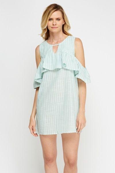 Striped Frilled Cold Shoulder Dress