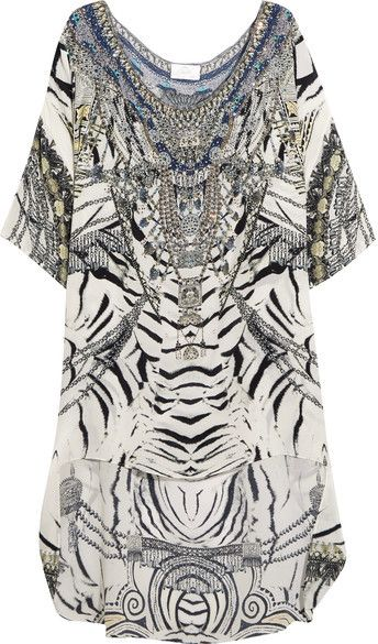 Camilla - Chinese Whispers Embellished Printed Silk Crepe De Chine Dress - White