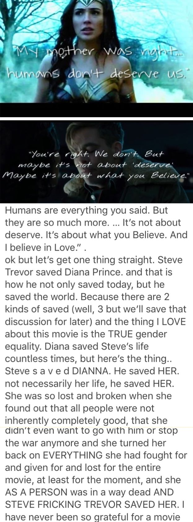 As someone said to me: Men save women and Women save men. Loved this aspect of the movie!