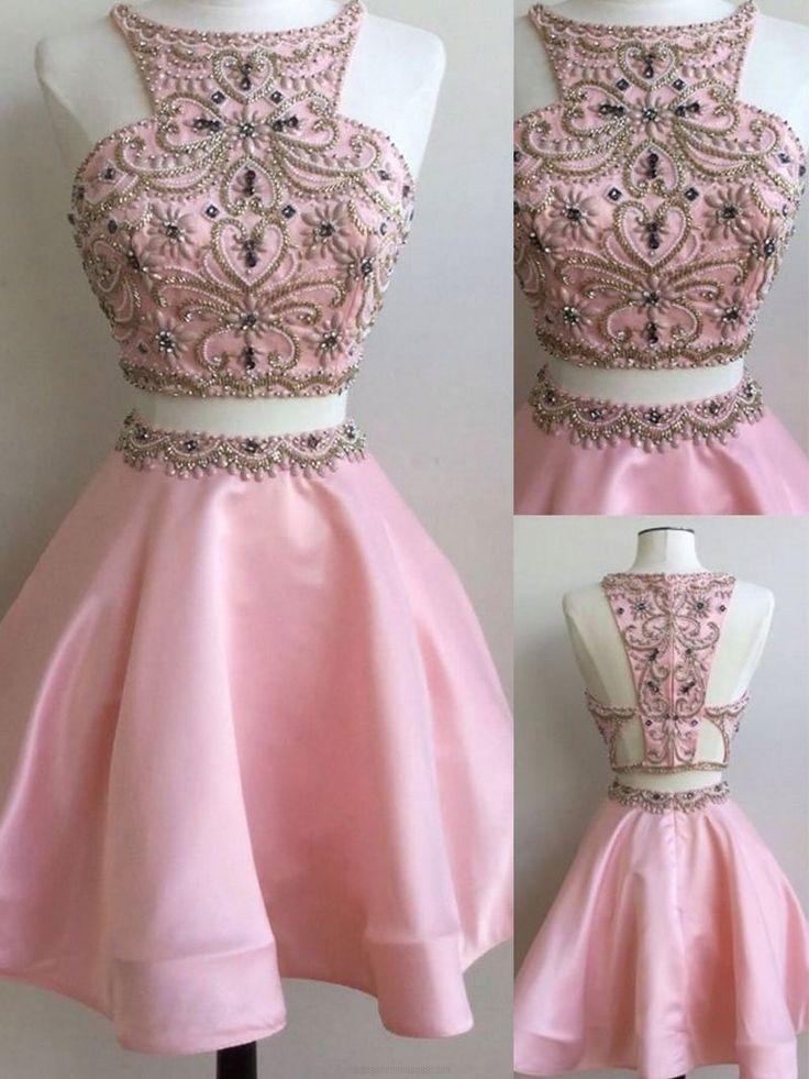 A-line/Princess Homecoming Dresses, Pink Homecoming Dresses, Short Homecoming Dresses, Two Piece Pink Homecoming Dresses With Rhinestone Mini Round Sale Online